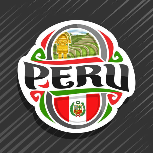ilustrações, clipart, desenhos animados e ícones de rótulo de vetor para peru - bandeira do peru