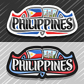 Vector label for Philippines
