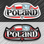 Vector label for Poland