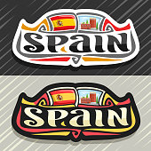 Vector label for Spain