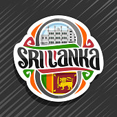 Vector label for Sri Lanka