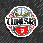 Vector label for Tunisia