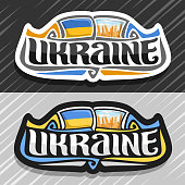 Vector label for Ukraine