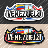 Vector label for Venezuela