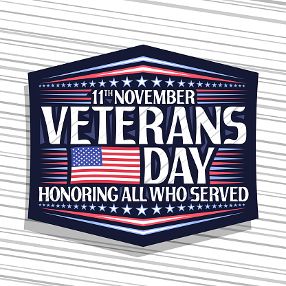 Vector label for Veterans Day