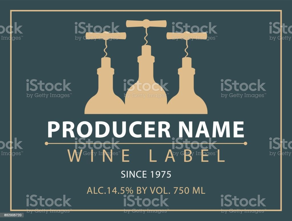 vector label for wine with bottles and corkscrews vector art illustration
