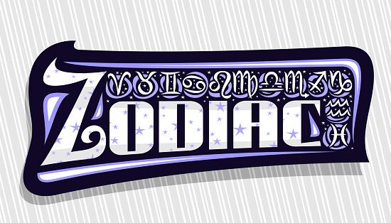Vector label for Zodiac