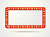 Vector label frames of empty retro light boxes for inserting your text.