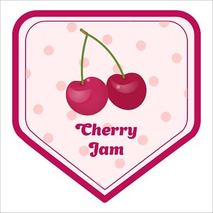 Vector label of cherry jam