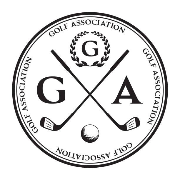 ilustrações de stock, clip art, desenhos animados e ícones de vector label of golf. logo of golf championship. vector illustration. - golf