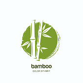 Vector label or emblem with watercolor hand drawn green bamboo plant. Concept for spa and beauty salon, massage.
