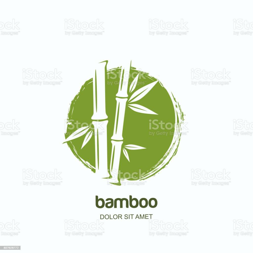 向量標籤或標誌與水彩手繪綠色竹子。水療和美容美髮,按摩的概念。向量藝術插圖