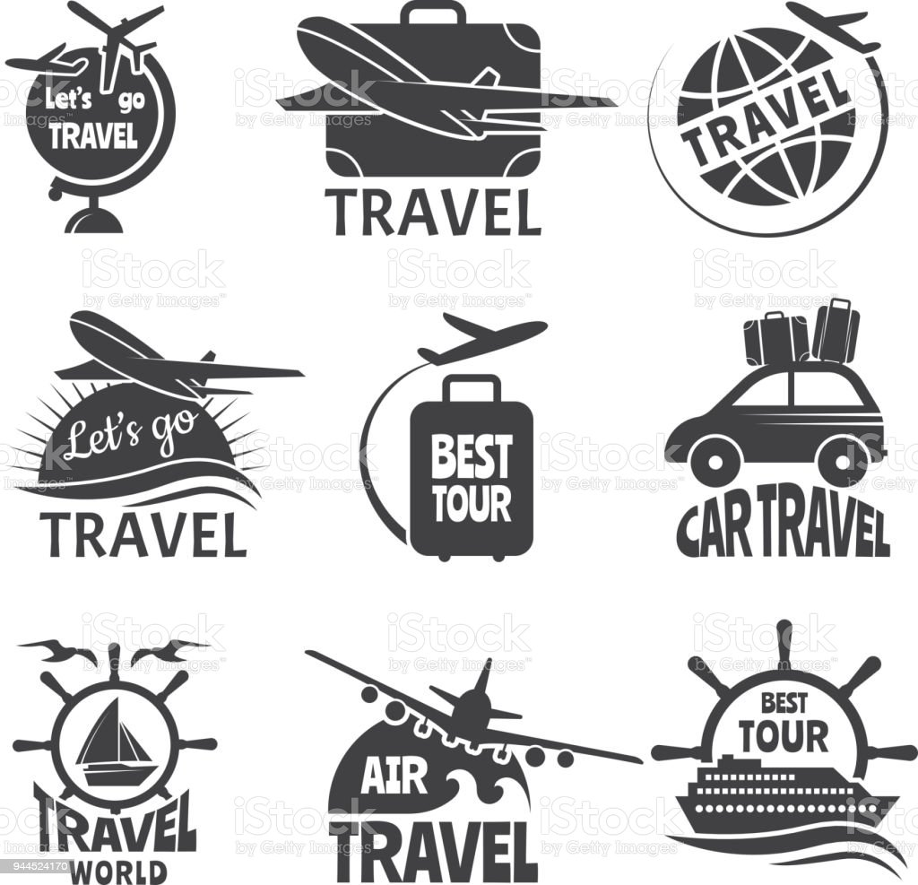 Vector label or logos forma travelling theme. Monochrome pictures of airplanes vector art illustration