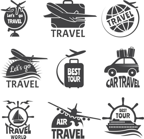 Vector Label Or Logos Forma Travelling Theme Monochrome Pictures Of Airplanes Art Illustration