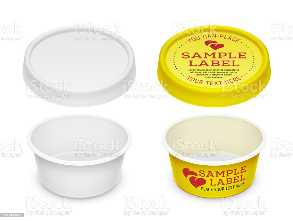 Vector Labeled Empty Open Round Container For Cosmetics Cream Butter