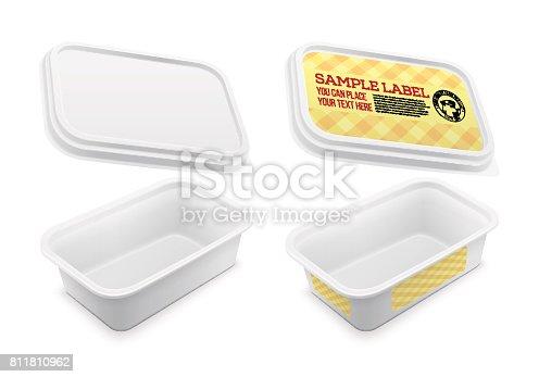 Vector etiqueta envase cuadrado vacío. Ilustración de la plantilla del embalaje.