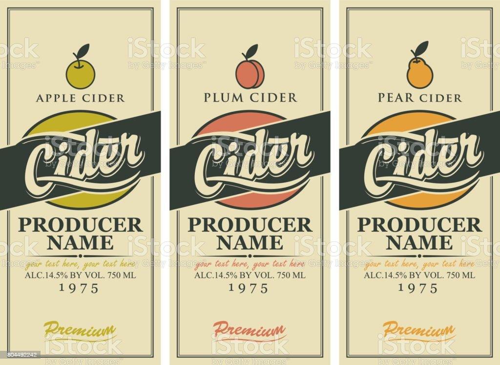 Vektor-Etiketten für Cider mit Apfel, Pflaume und Birne – Vektorgrafik