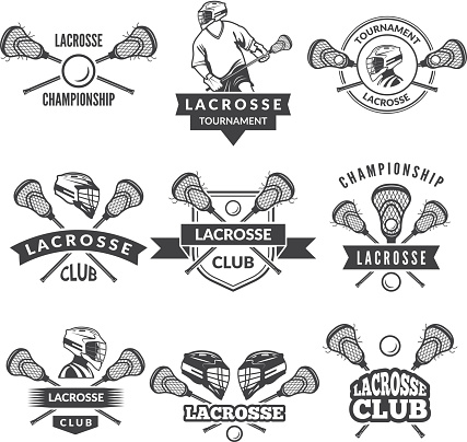 Vector labels for lacrosse team in sport college
