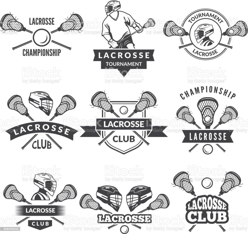 Rótulos de vetor para a equipa de lacrosse na faculdade de desporto - ilustração de arte em vetor