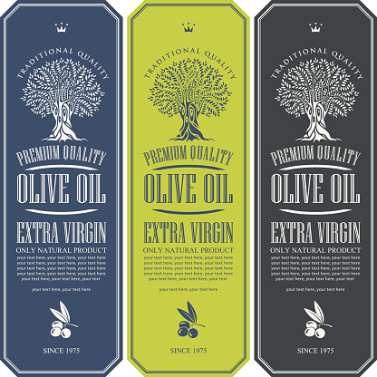 vector labels for olive oil with an olive tree