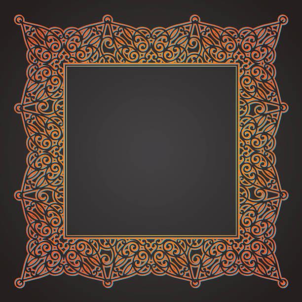 vektor spitze frame im östlichen stil auf dunklem hintergrund. - kabelskulpturen stock-grafiken, -clipart, -cartoons und -symbole
