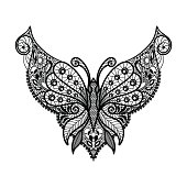 Vector lace neckline. Neck print with butterfly shape and floral ornament