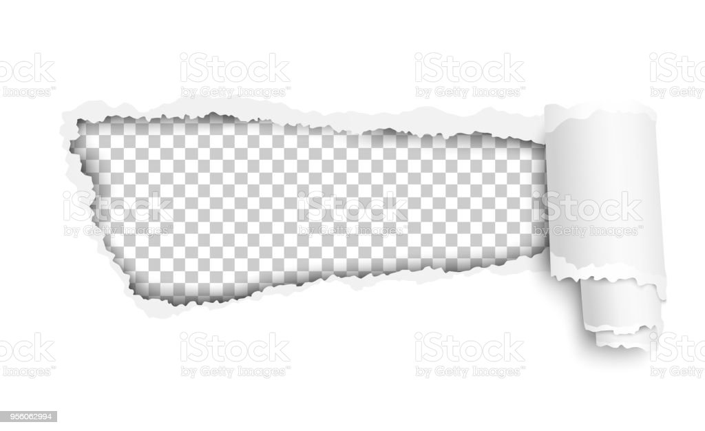 Vector lacerated hole in white sheet of paper with soft shadow, transparent background of the resulting window and curl. Template paper design. vector art illustration