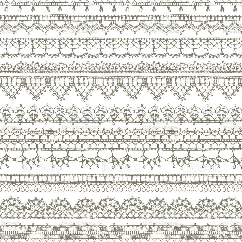 Ilustración de Vector Crochet Encaje De Patrones Sin Fisuras y más ...