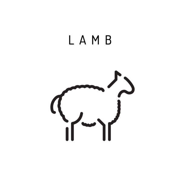 icône de contour de vecteur agneau agneau - Illustration vectorielle
