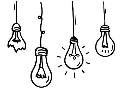 Vector lamp bulb in doodle style. Different glass incandescent lamps. Hand drawn cartoon light bulbs hanging. Broken lightbulb. Doodle line sketch illustration. Black outlines isolated on a white.