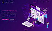 Content marketing banner. Social media advertising, seo optimization concept. Vector landing page of digital business strategy, promotion with video and text creation. Isometric writing people