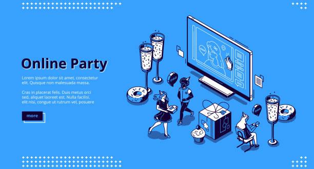 ilustraciones, imágenes clip art, dibujos animados e iconos de stock de página de destino vectorial para el concepto de fiesta en línea - zoom meeting