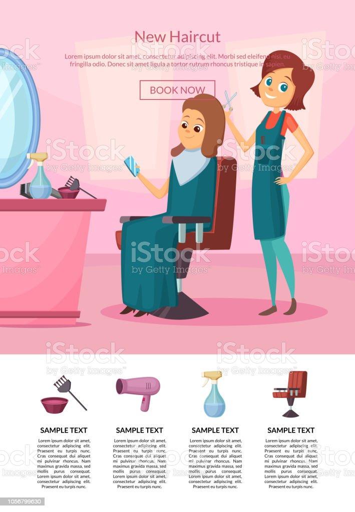 美容室サロン テーブルとミラーでクライアントに散髪を行う着陸ページ