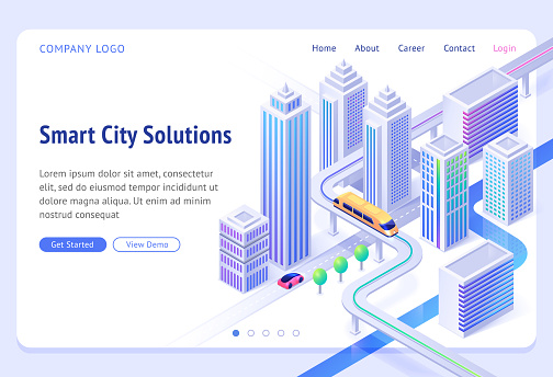 Vector landing page of smart city solutions