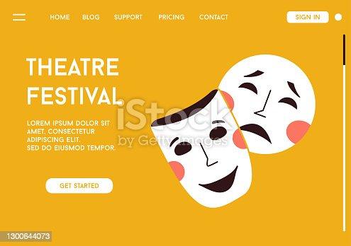 Página de destino vectorial del concepto del Festival de Teatro