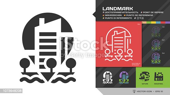 Vector landmark or building black glyph silhouette and editable stroke thin outline single urban icon with location geo tag, modern city or town, tree, quay, river for travel navigation sign.