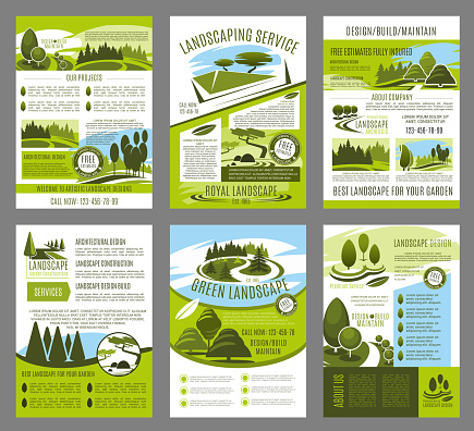 Vector landscape garden design brochure template