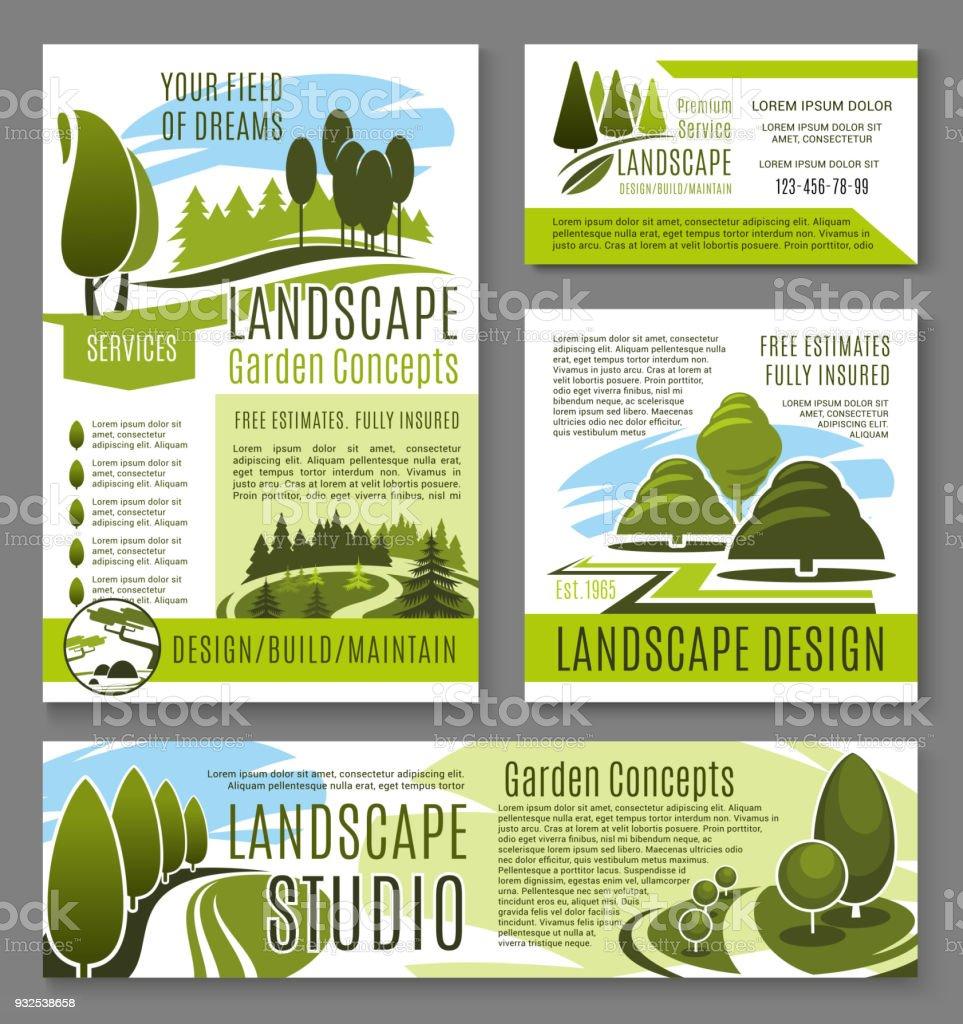 Vector Landscape Garden Design Concept Posters Stock Illustration