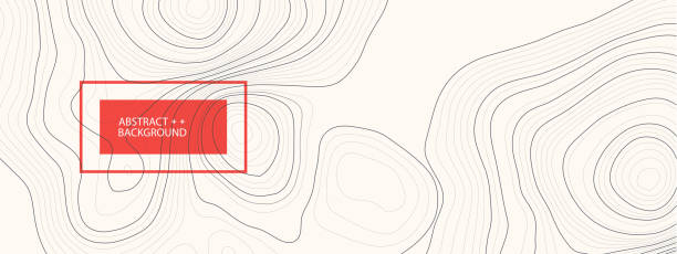 Vektor-Landschaft Geodäsie-Topographie-Kartenhintergrund. Linientexturmuster. – Vektorgrafik