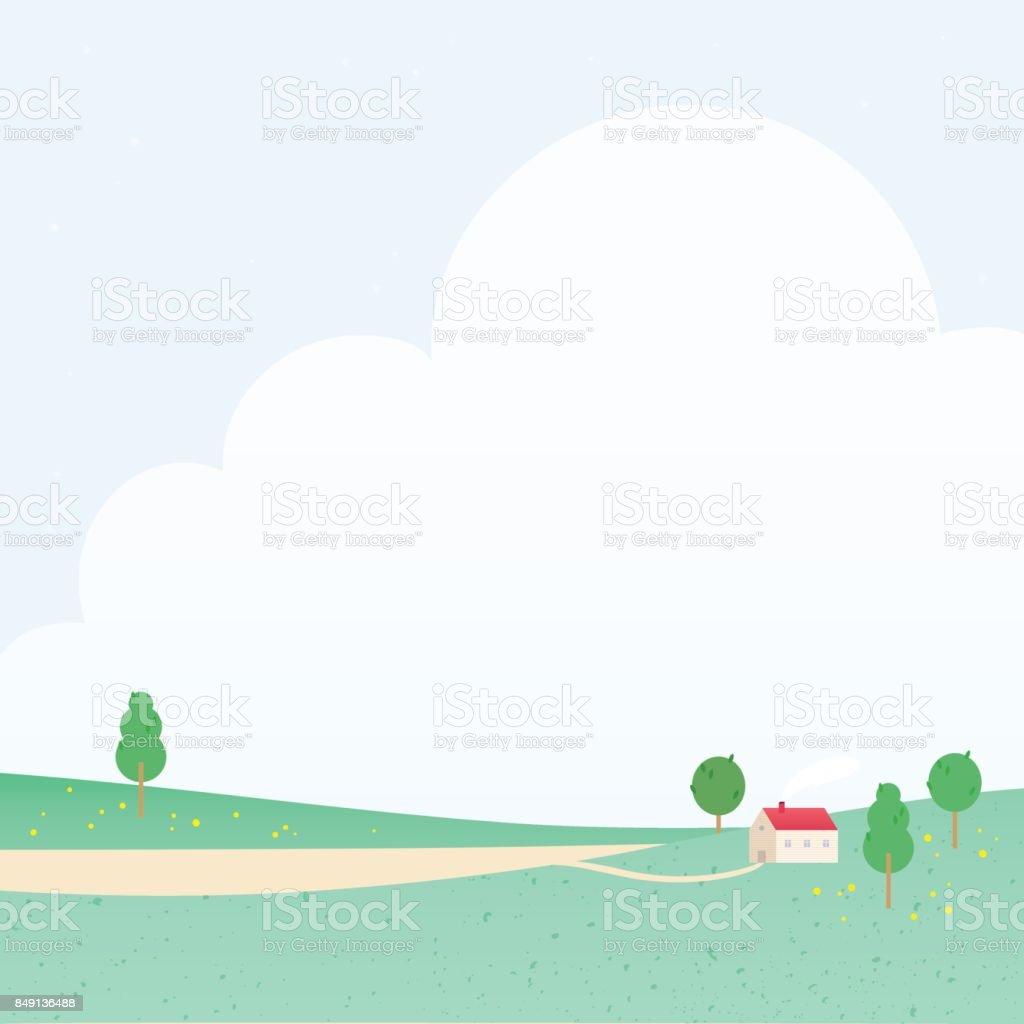 大きな雲と赤い屋根のかわいい国家ベクトルの風景イラストです