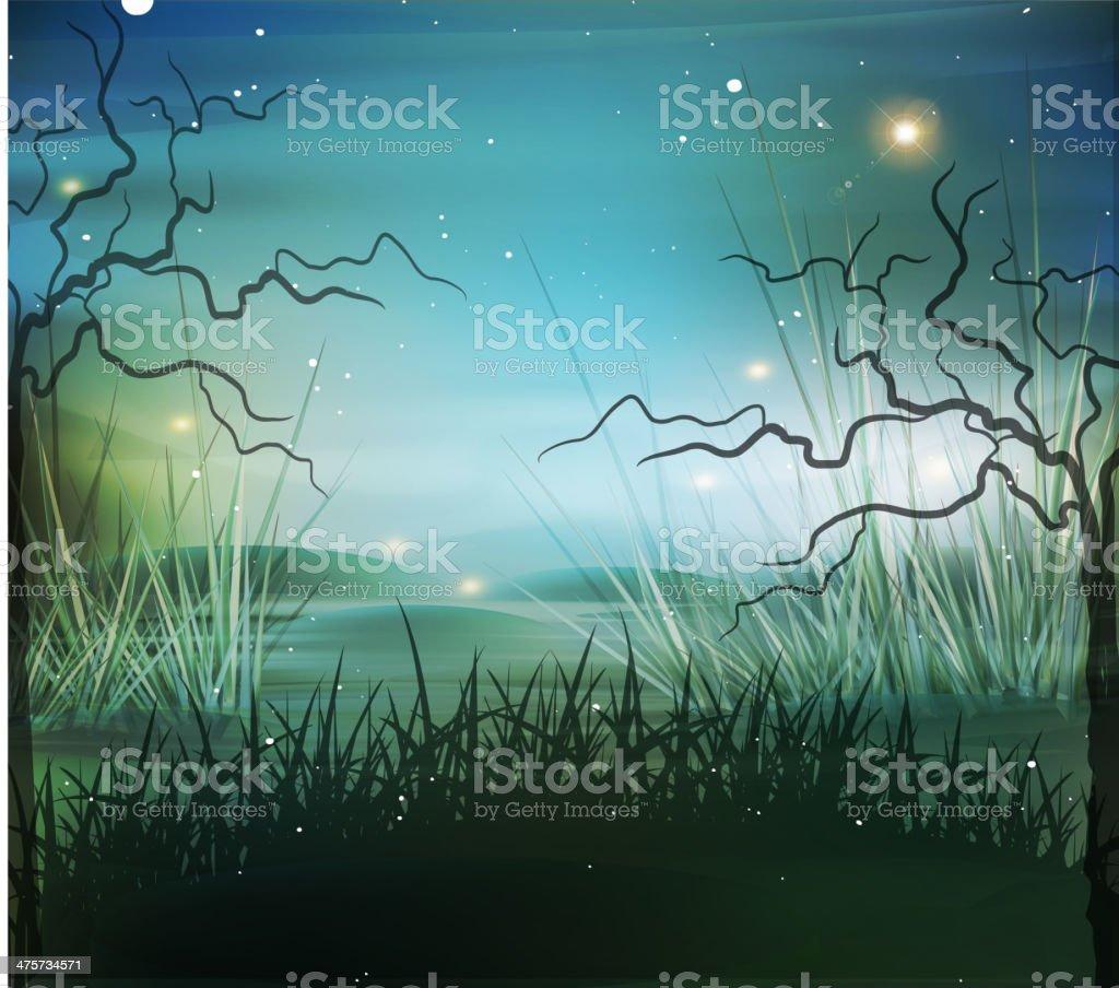 vector landscape, marsh vector art illustration