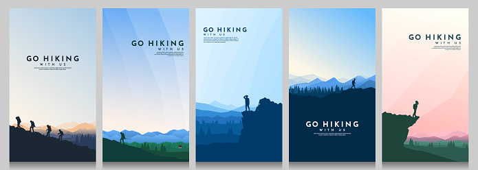 Vector landscape set. Travel concept of discovering, exploring and observing nature. The guy watches nature, riding at mountain bike, climbing to the top, going hike. Design for flyer, invitation