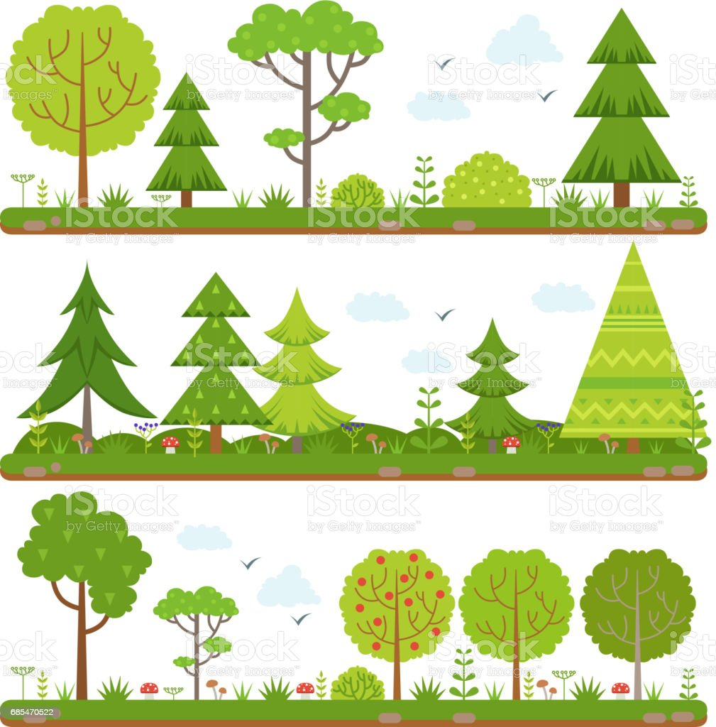 Vector landscape set with forest trees and other floral elements vector landscape set with forest trees and other floral elements - arte vetorial de stock e mais imagens de abeto royalty-free