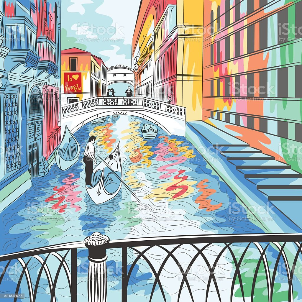 vector landscape the Bridge of Sighs in Venice vector art illustration