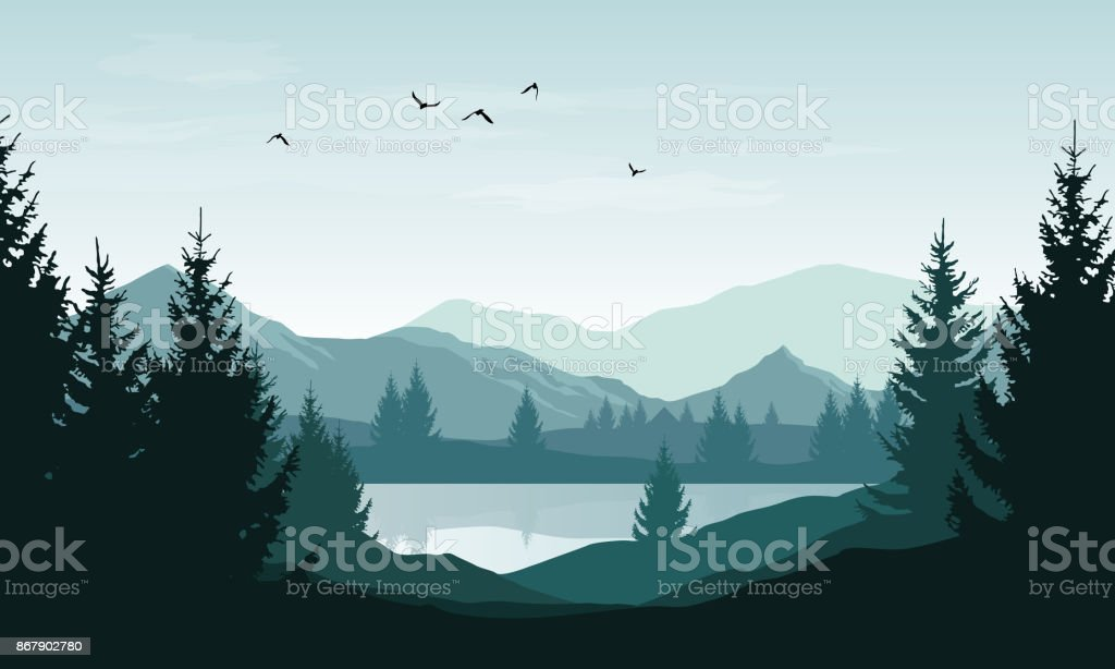 Vector landscape with blue silhouettes of mountains, hills and forest and sky with clouds and birds