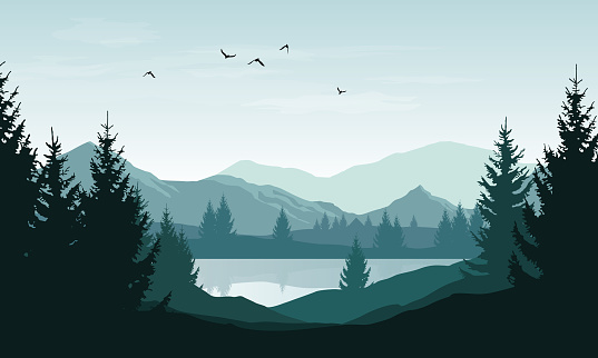 Vector landscape with blue silhouettes of mountains, hills and forest and sky with clouds and birds clipart