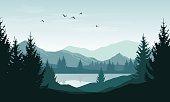 Vector landscape with blue silhouettes of mountains, hills and forest and sky with clouds and birds.
