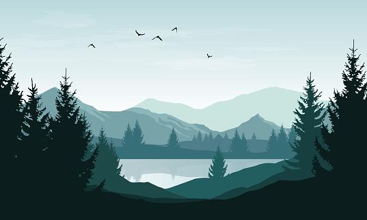 Vector Landscape With Blue Silhouettes Of Mountains Hills And Forest And Sky With Clouds And Birds - Stockowe grafiki wektorowe i więcej obrazów Bez ludzi