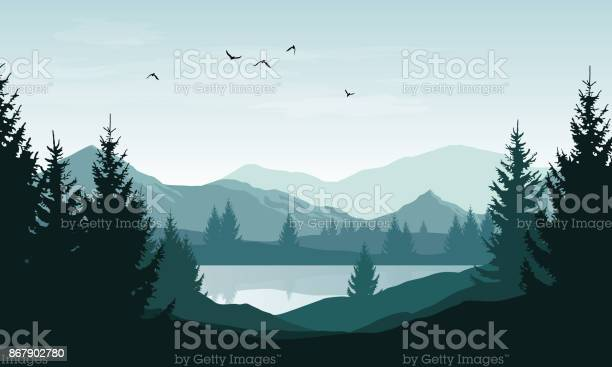 Vector Landscape With Blue Silhouettes Of Mountains Hills And Forest And Sky With Clouds And Birds - Arte vetorial de stock e mais imagens de Animal selvagem