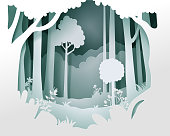 Vector landscape with deep foggy forest. Background of landscape paper cut style, eps 10 vector.